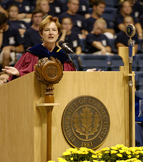 Image: Carol Lammi-Keefe delivers the Convocation address.