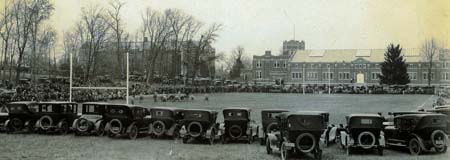 Image: A football game on Dow Field around 1920.