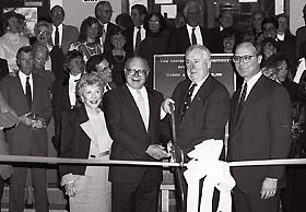 Harry A. Gampel joins in the ribbon cutting for the pavilion that bears his name.