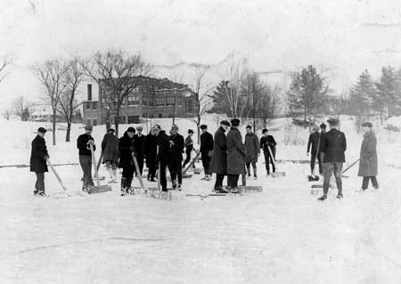 Clearing the ice on the Duck Pond in the 1920s.