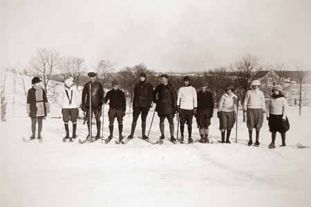 A ski class in the mid 1920s on the Storrs campus.