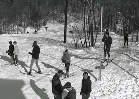 The UConn ski slope on opening day, 1967.
